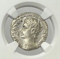 Augustus Silver Denarius NGC XF 4x2