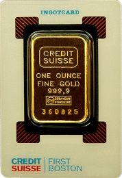 Credit Suisse 1 oz Gold Bar - Obverse in Holder