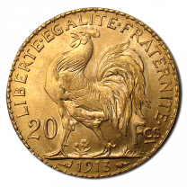 French 20 Franc Rooster 1901-1914 - Obverse