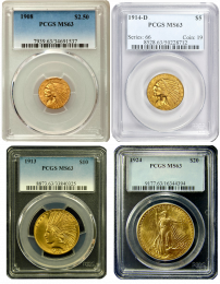 Four Coin Indian Head Gold Coin Set NGC/PCGS Mint State 63