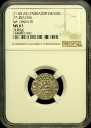 1143-63 Crusader Denier NGC Mint State 63
