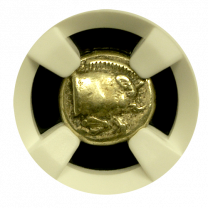 Boar Forepart/Lion Head Electrum 1/6 Stater NGC XF 5x4
