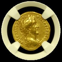 Antoninus Pius Gold Aureus NGC VF 5x4 Fine Style