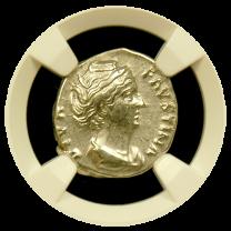 Faustina, Sr. Silver Denarius NGC Extremely Fine