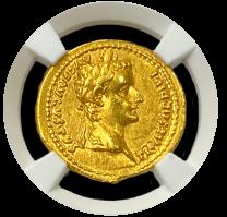 Tiberius Gold Aureus AU 5x3