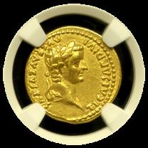 Tiberius Gold Aureus NGC CHXF 5x4