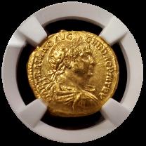Trajan Gold Aureus NGC CHAU 5x3 Fine Style