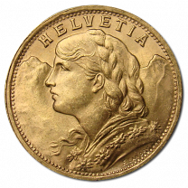 Swiss 20 Franc Gold Coins 1897-1949 - Obverse
