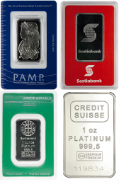 Various Platinum Bars - 1 oz.