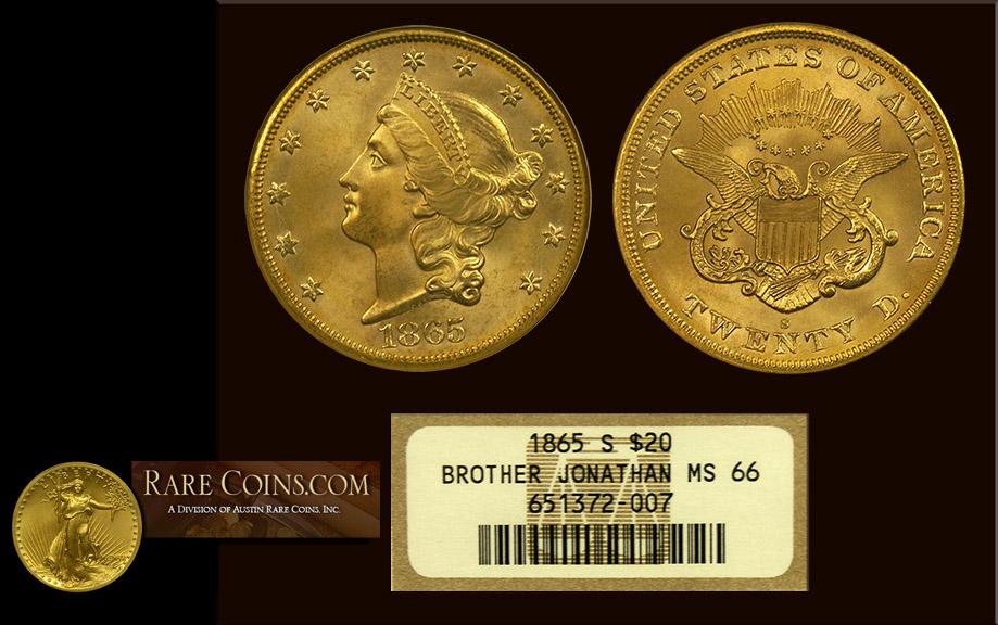 1865 S $20 Liberty SS Brother Johathan