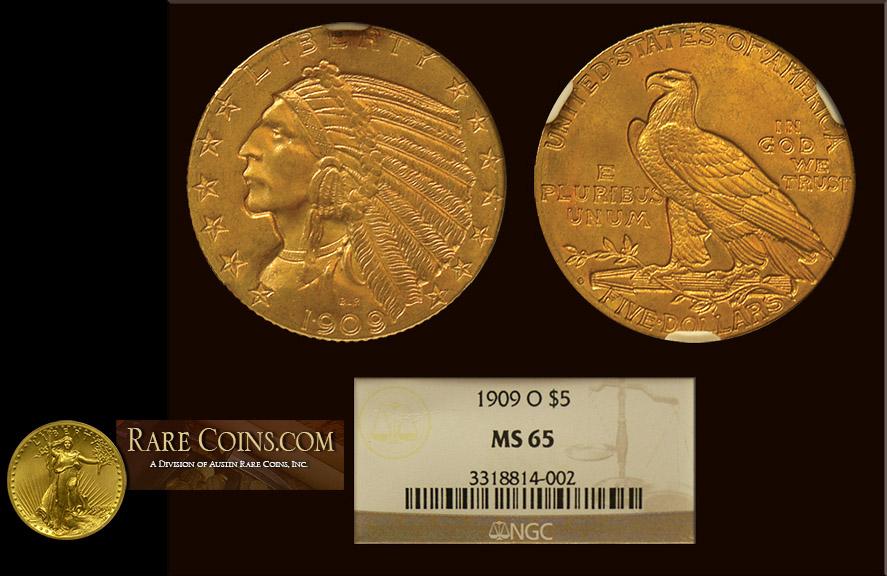 1909 O $5 Indian