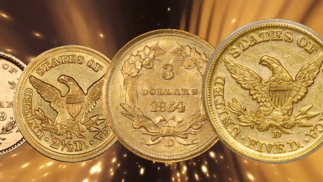 assortment of D-Mint Dahlonega gold coins