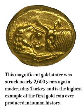 Persian coin  struck in 560 B.C. out of electrum