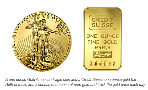 gold coin and gold bar