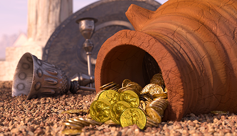 ancient gold coins in pot